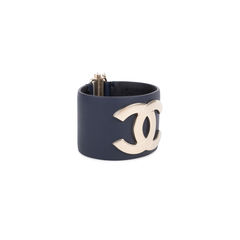 Chanel cc leather cuff bracelet blue 4?1546575547
