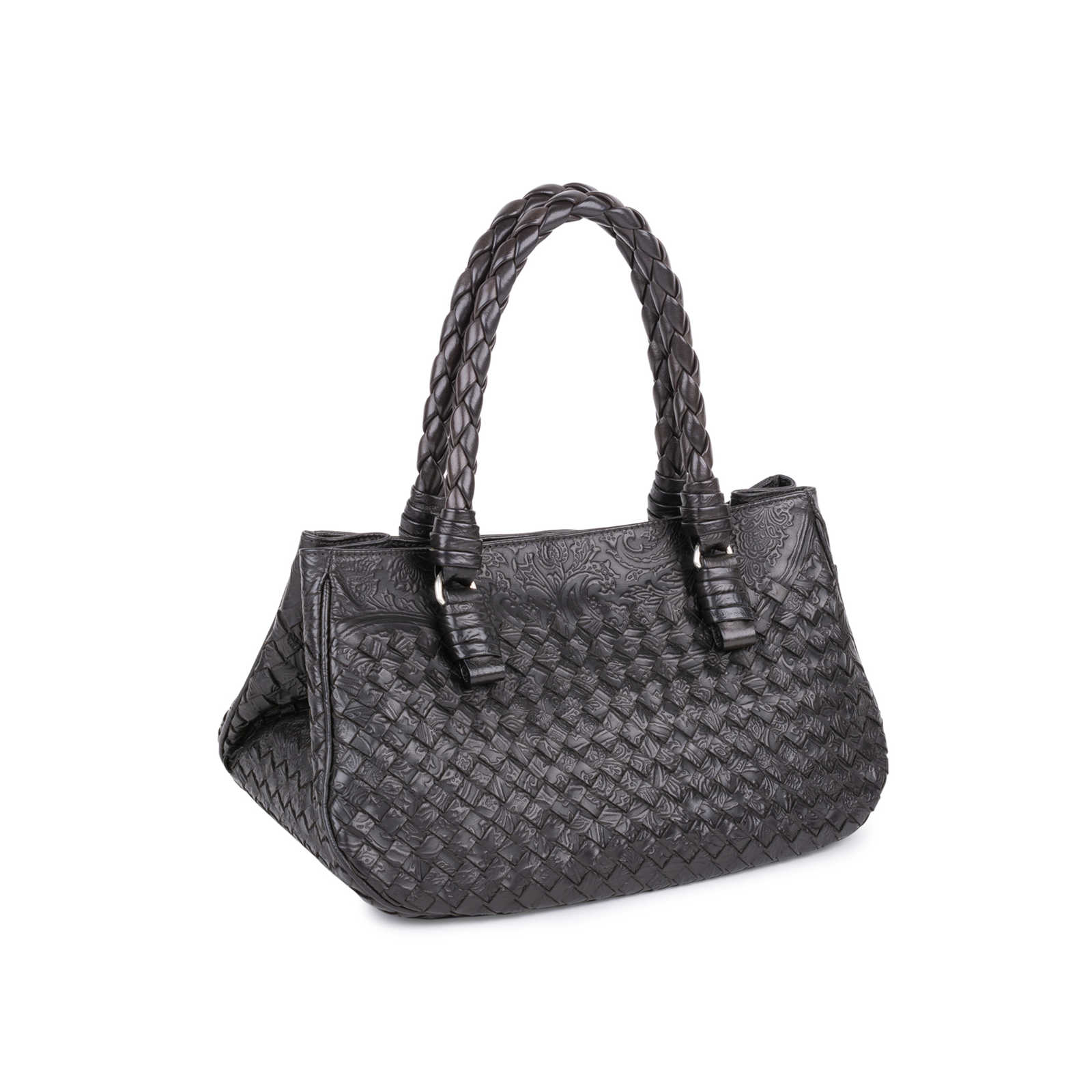 a73f350c50d ... Authentic Pre Owned Bottega Veneta Embossed Intrecciato Leather Tote Bag  (PSS-594-00003 ...