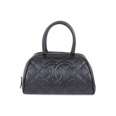 Quilted Caviar Bowler Tote Bag