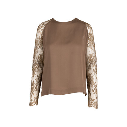 Authentic Second Hand Paul & Joe Olive Lace Sleeve Top (PSS-594-00021)