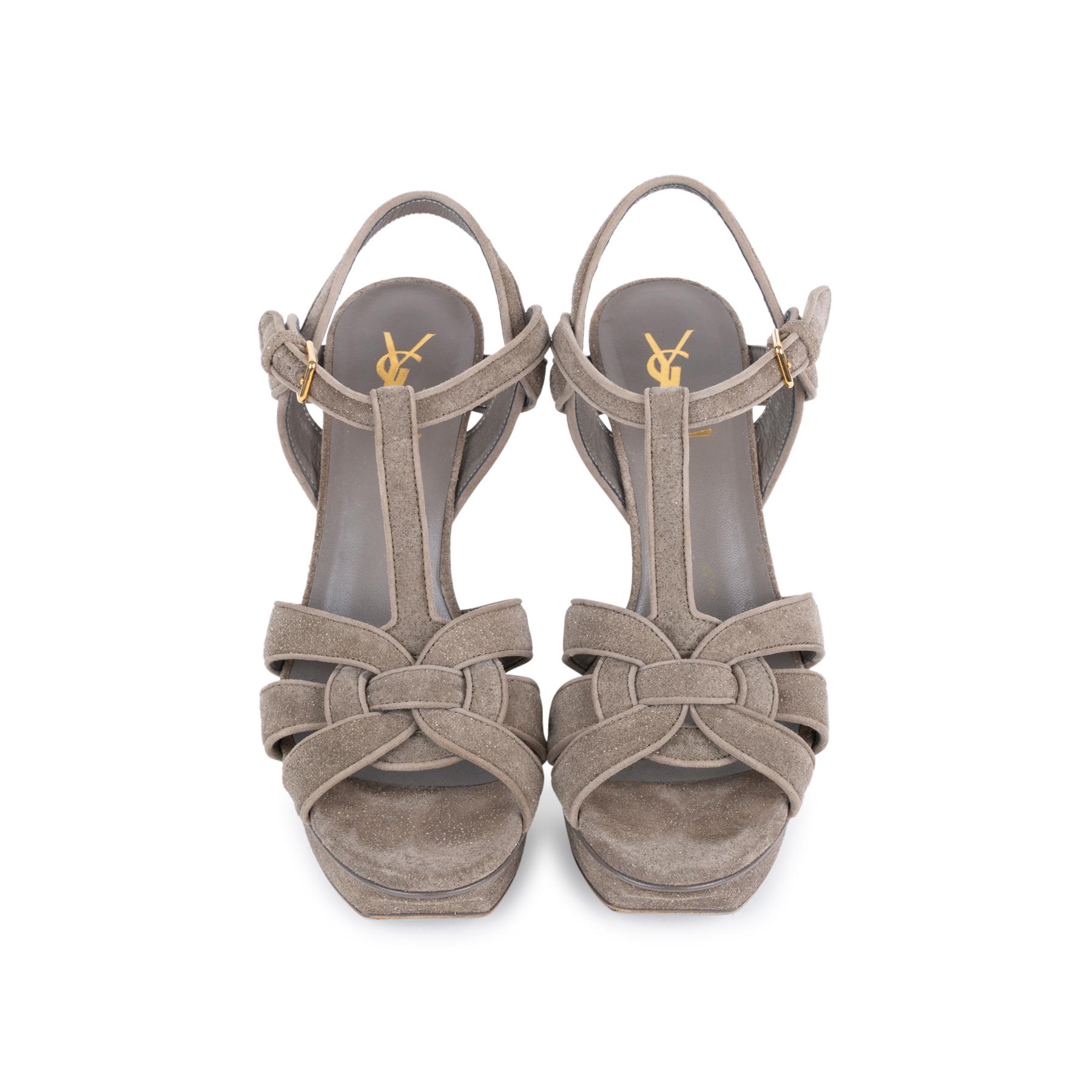 98350f5b0bcc58 Authentic Second Hand Yves Saint Laurent Glitter Effect Tribute Sandals  (PSS-328-00019)