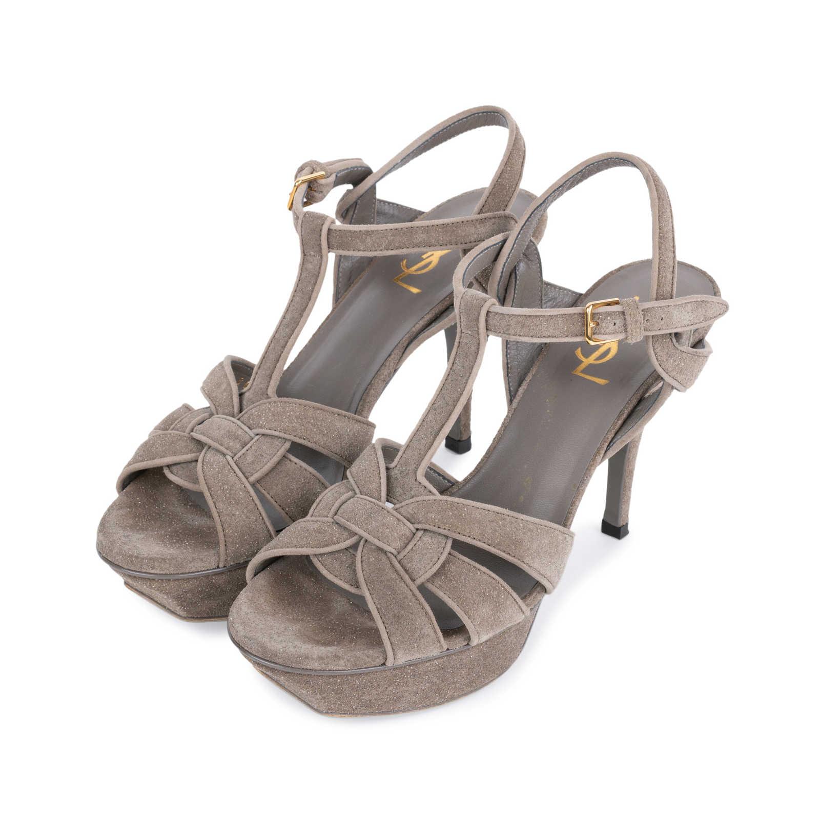 c0a56f9983d ... Authentic Second Hand Yves Saint Laurent Glitter Effect Tribute Sandals  (PSS-328-00019 ...