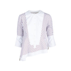 Asymmetrical Striped Cotton Poplin Top