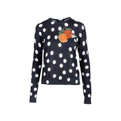 Orange Appliqué Polka Dot Sweater