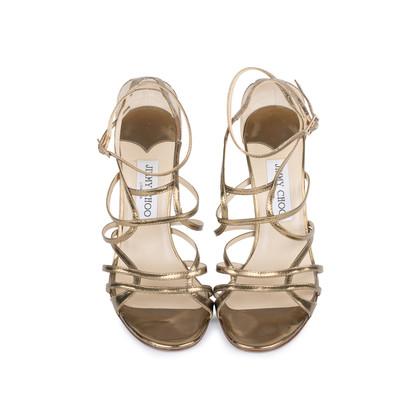 Authentic Second Hand Jimmy Choo Bronze Crisscross Sandals (PSS-377-00055)