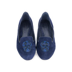 Sequin Skull Suede Loafers