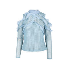 Purl Knit Cut-out Shoulder Blouse