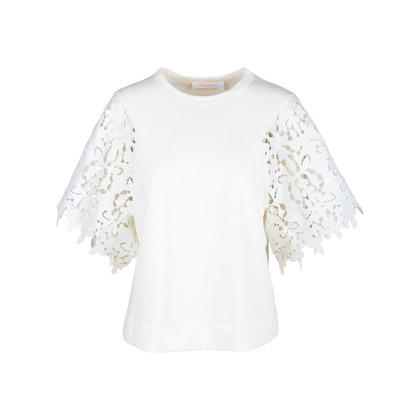 Authentic Second Hand See by Chloe Snow White Lace Blouse (PSS-578-00002)