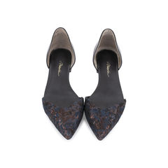 Embroidered D'orsay Flats