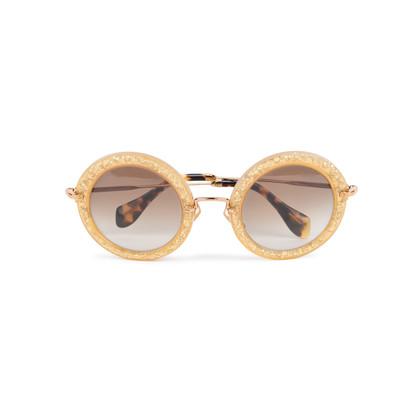 Authentic Second Hand Miu Miu Round Glitter Acetate Sunglasses (PSS-515-00237)
