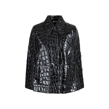 Authentic Second Hand Miu Miu Croc-Embossed Faux Patent Leather Cape (PSS-515-00253)