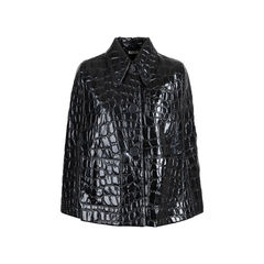 Croc-Embossed Faux Patent Leather Cape