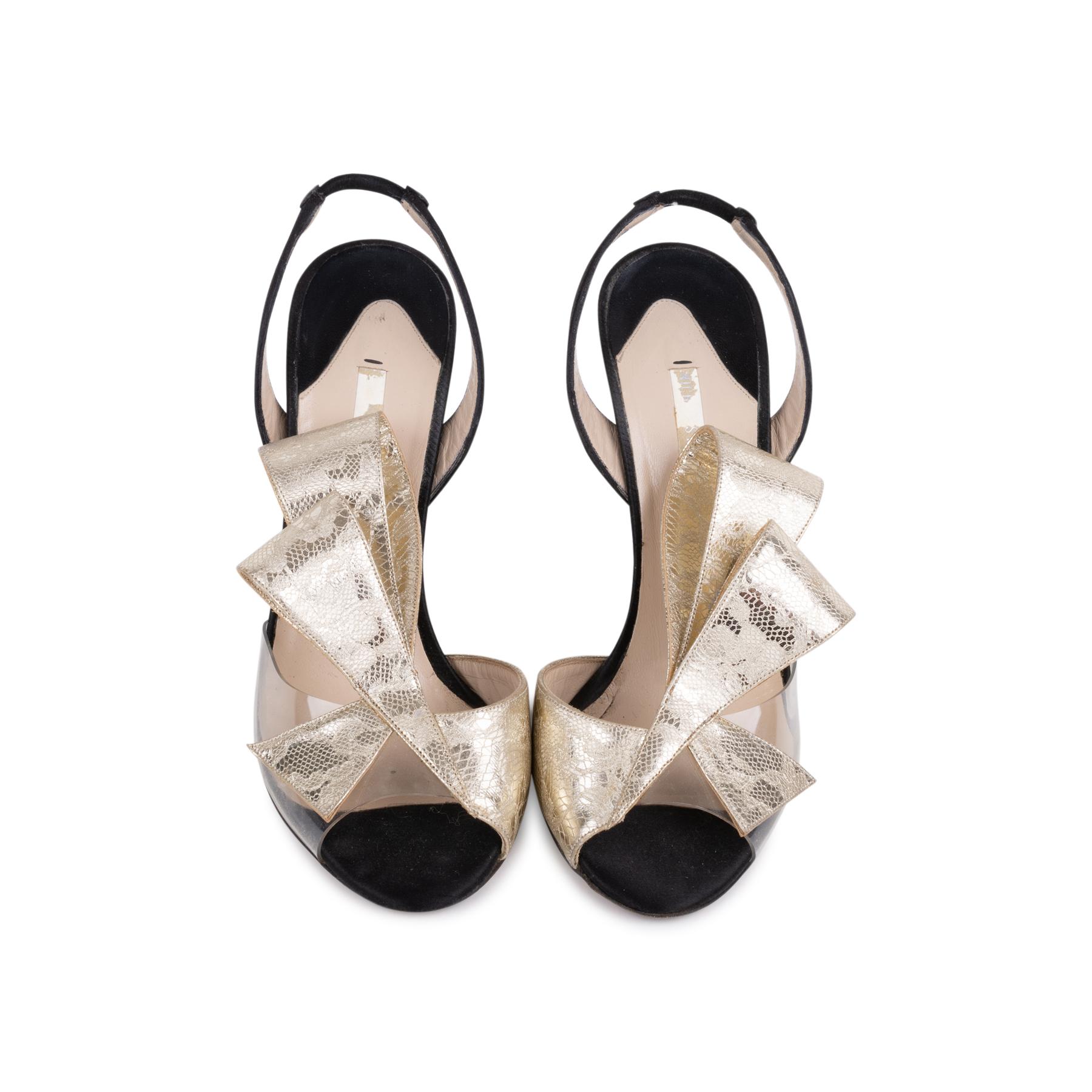 63d7d3cf6c4 Authentic Second Hand Nicholas Kirkwood Metallic Lace Bow Slingback Sandals  (PSS-515-00268)