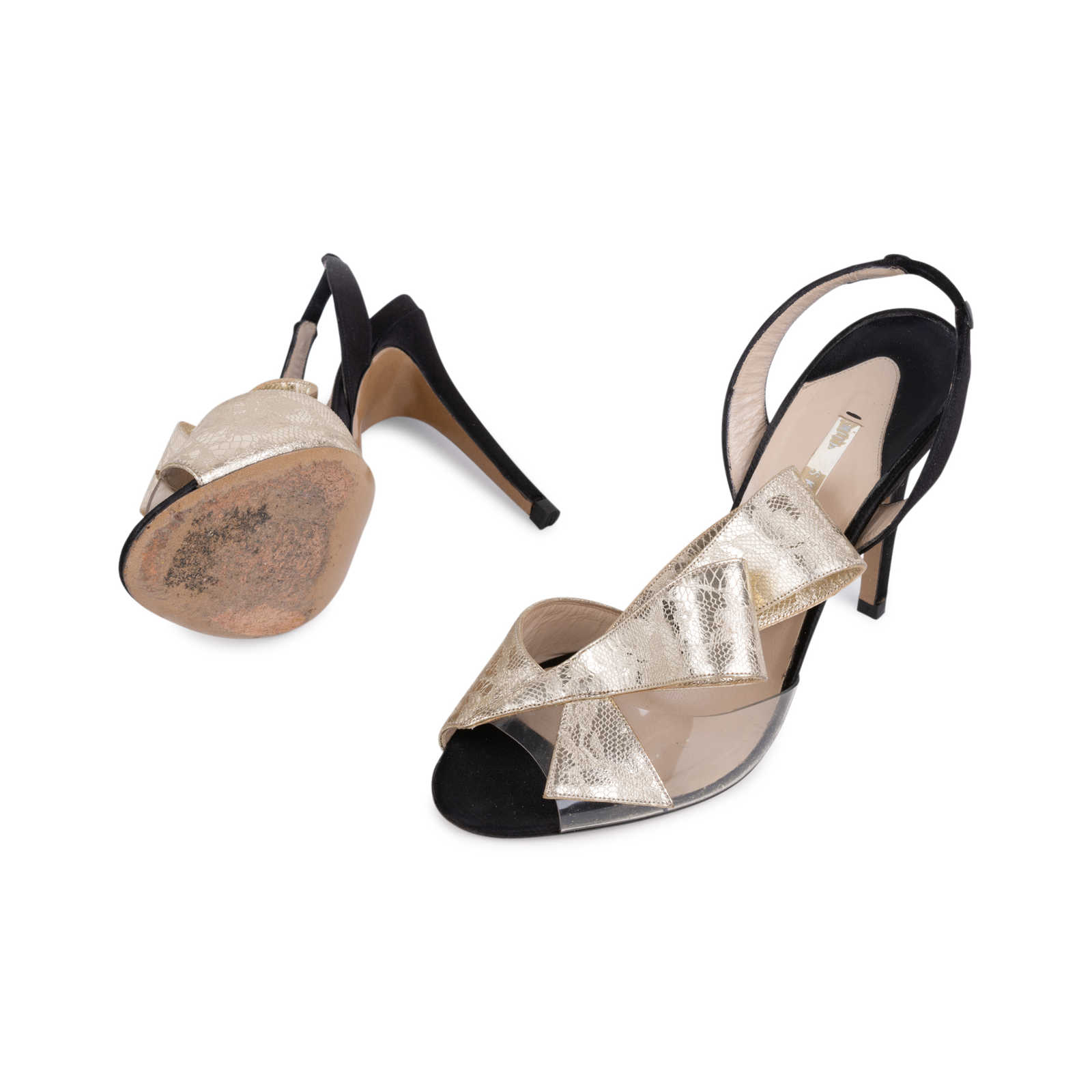 adfab884f72 ... Authentic Second Hand Nicholas Kirkwood Metallic Lace Bow Slingback  Sandals (PSS-515-00268 ...