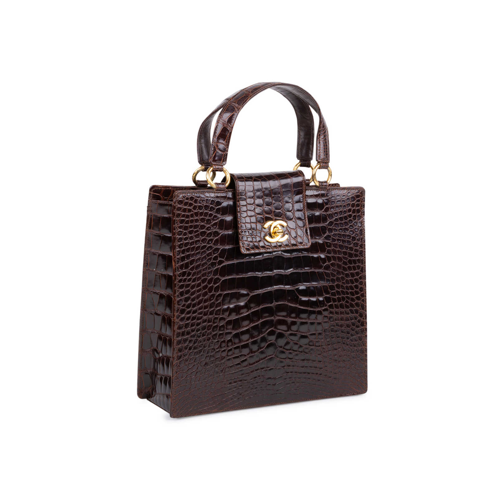 5aeee7fc54c3 ... Authentic Vintage Chanel Crocodile Top Handle Bag (PSS-606-00014) -  Thumbnail ...