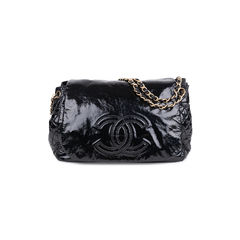 Patent Vinyl Rock and Chain Large Flap Bag