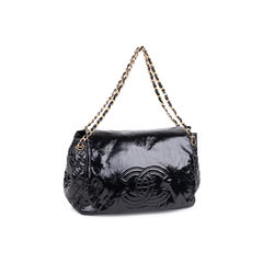 Chanel patent vinyl rock and chain large flap bag black 2?1547710335