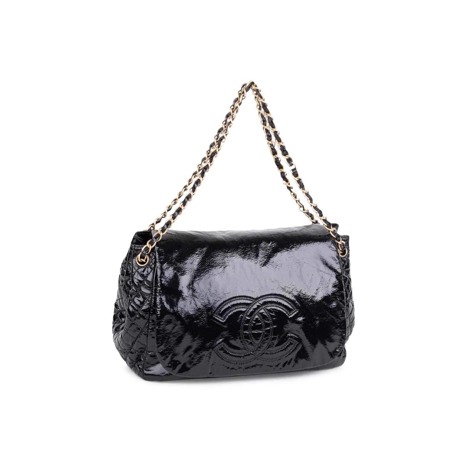 45fec893e6da ... Authentic Second Hand Chanel Patent Vinyl Rock and Chain Large Flap Bag  (PSS-606 ...