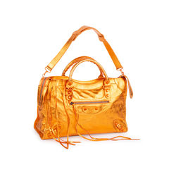 Balenciaga orange metallic city bag 5?1547710617