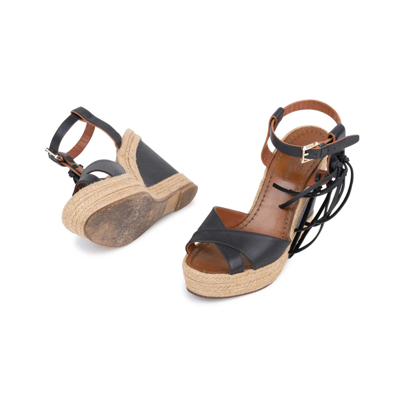 829f351b84b4 ... Authentic Second Hand Valentino Black Espadrille Platform Wedges  (PSS-048-00145) ...