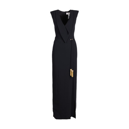 Authentic Second Hand Badgley Mischka Tassel Tie Crepe Gown (PSS-606-00004)