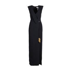 Tassel Tie Crepe Gown