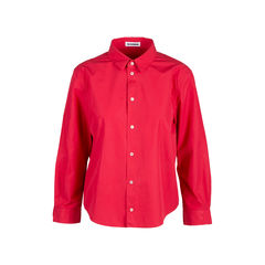 Red Cotton Button Down Shirt