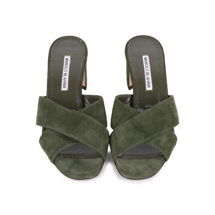 Authentic Second Hand Manolo Blahnik Otawi Crisscross Suede Slides (PSS-126-00134)