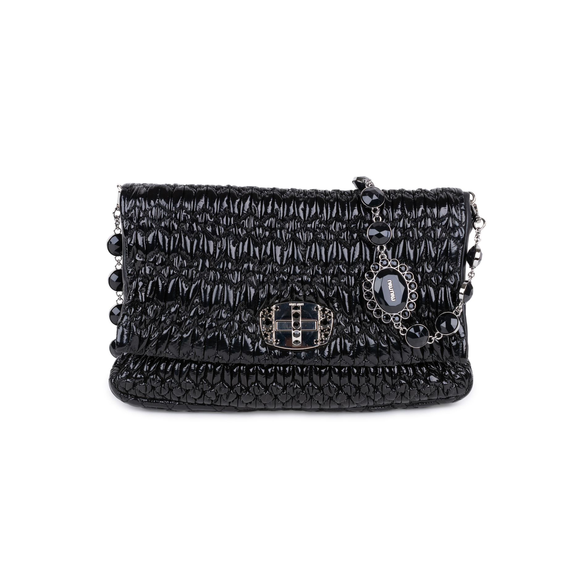 9e7f5b71f890 Authentic Second Hand Miu Miu Patent Matelasse Embellished Shoulder Clutch  (PSS-333-00063) | THE FIFTH COLLECTION