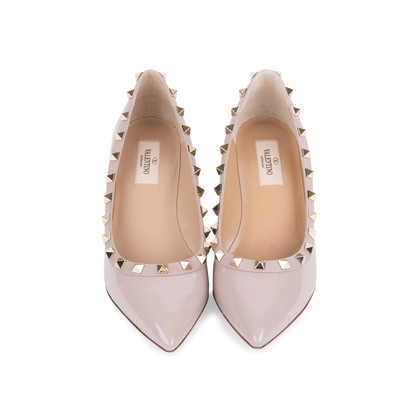 Authentic Second Hand Valentino Rockstud Patent Wedges (PSS-333-00064)