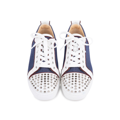 Authentic Second Hand Christian Louboutin Louis Junior Spiked Denim and Leather Sneakers (PSS-601-00001)