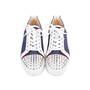 Authentic Pre Owned Christian Louboutin Louis Junior Spiked Denim and Leather Sneakers (PSS-601-00001) - Thumbnail 0
