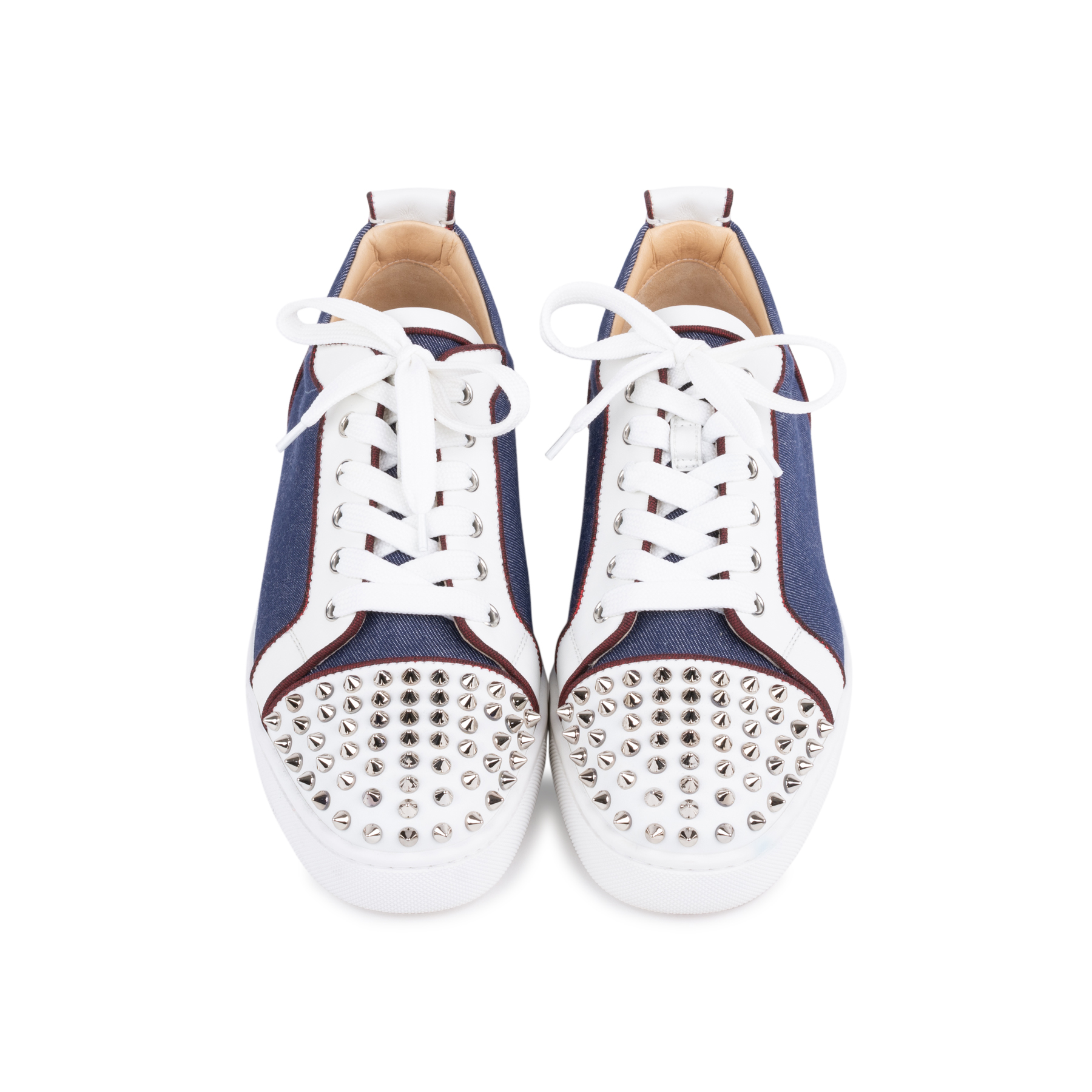 87fee11235e Authentic Second Hand Christian Louboutin Louis Junior Spiked Denim and  Leather Sneakers (PSS-601-00001)