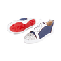 Authentic Second Hand Christian Louboutin Louis Junior Spiked Denim and Leather Sneakers (PSS-601-00001) - Thumbnail 1