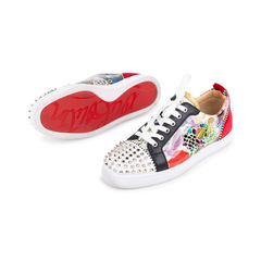 Christian louboutin louis junior spiked printed patent and velvet sneakers 1?1548244171