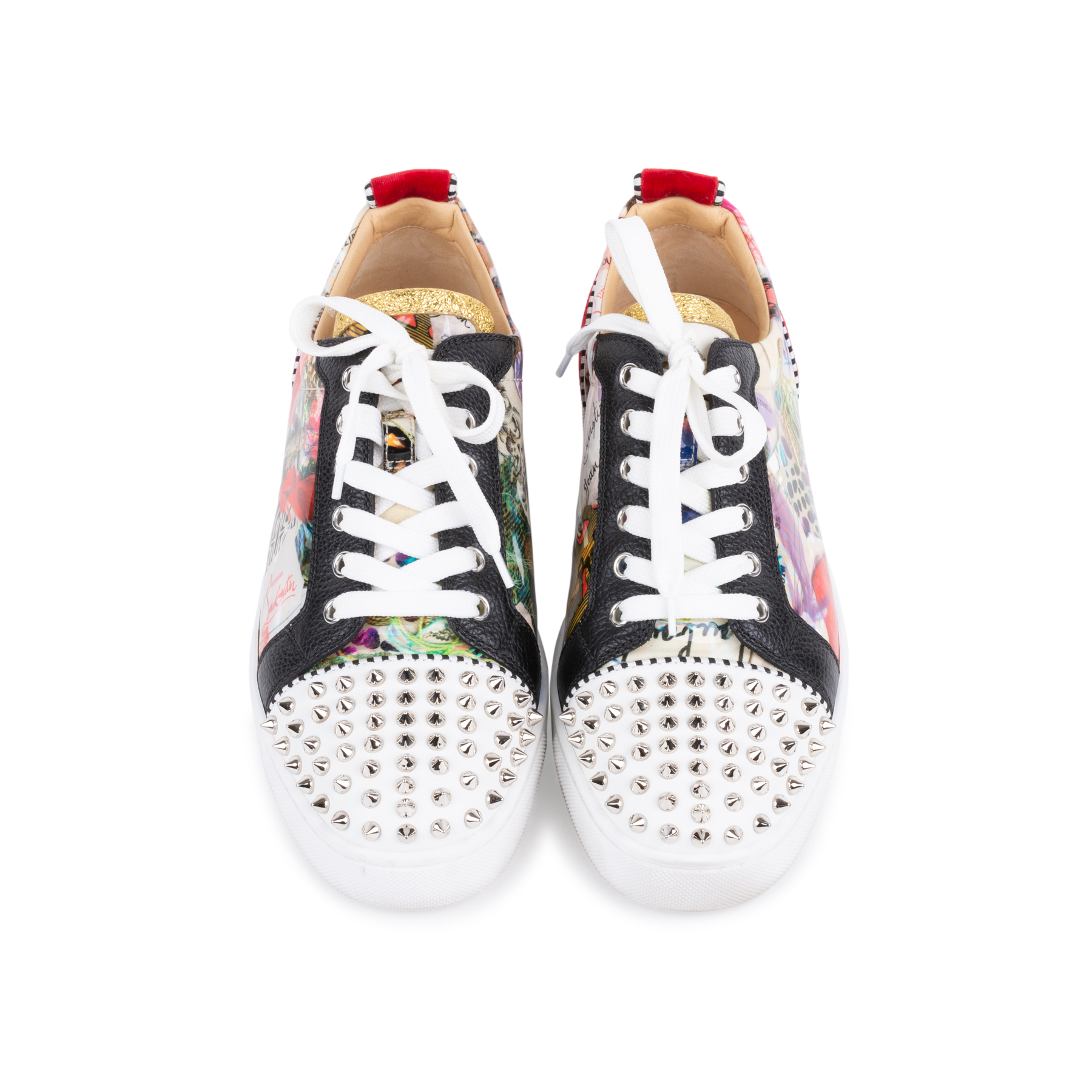 8fd37e34e5b Authentic Second Hand Christian Louboutin Louis Junior Spiked Printed  Patent and Velvet Sneakers (PSS-601-00002)