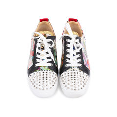 Louis Junior Spiked Printed Patent and Velvet Sneakers