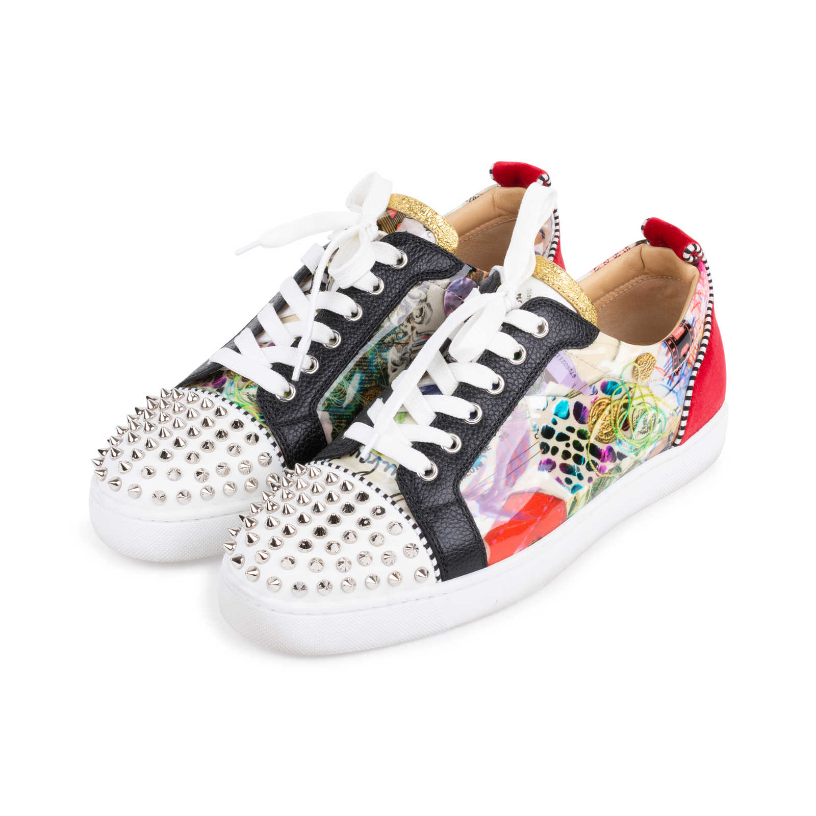 4b6bc98307d ... Authentic Second Hand Christian Louboutin Louis Junior Spiked Printed  Patent and Velvet Sneakers (PSS- ...