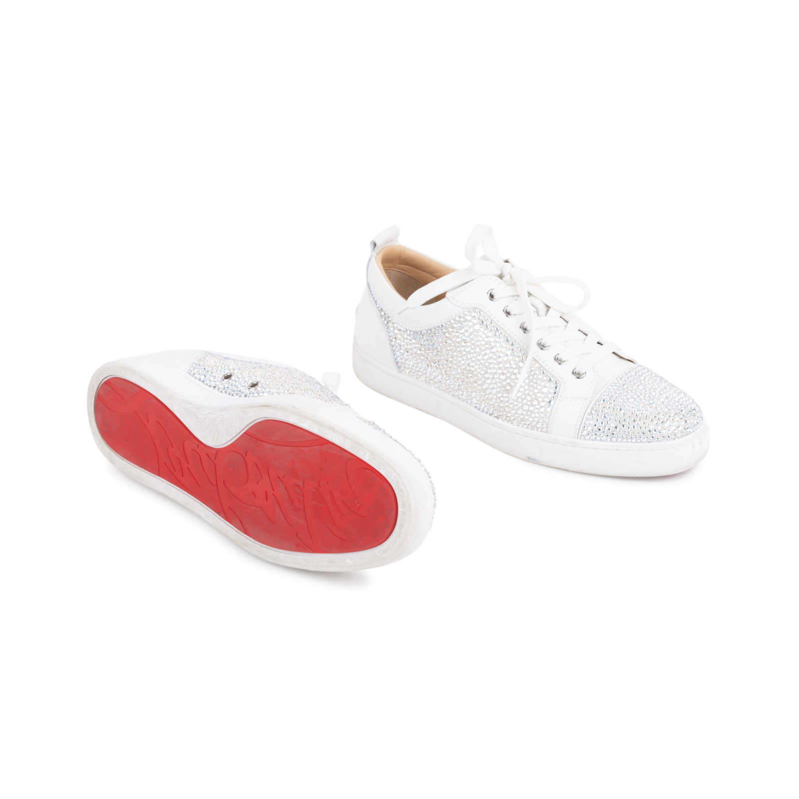 a0b5c215b886 ... Authentic Second Hand Christian Louboutin Louis Junior Strass Leather  Sneakers (PSS-601-00003 ...