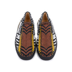 Pik Boat Python and Leather Slip On Sneakers
