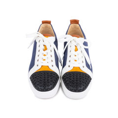 Louis Junior Spiked Leather and Denim Sneakers