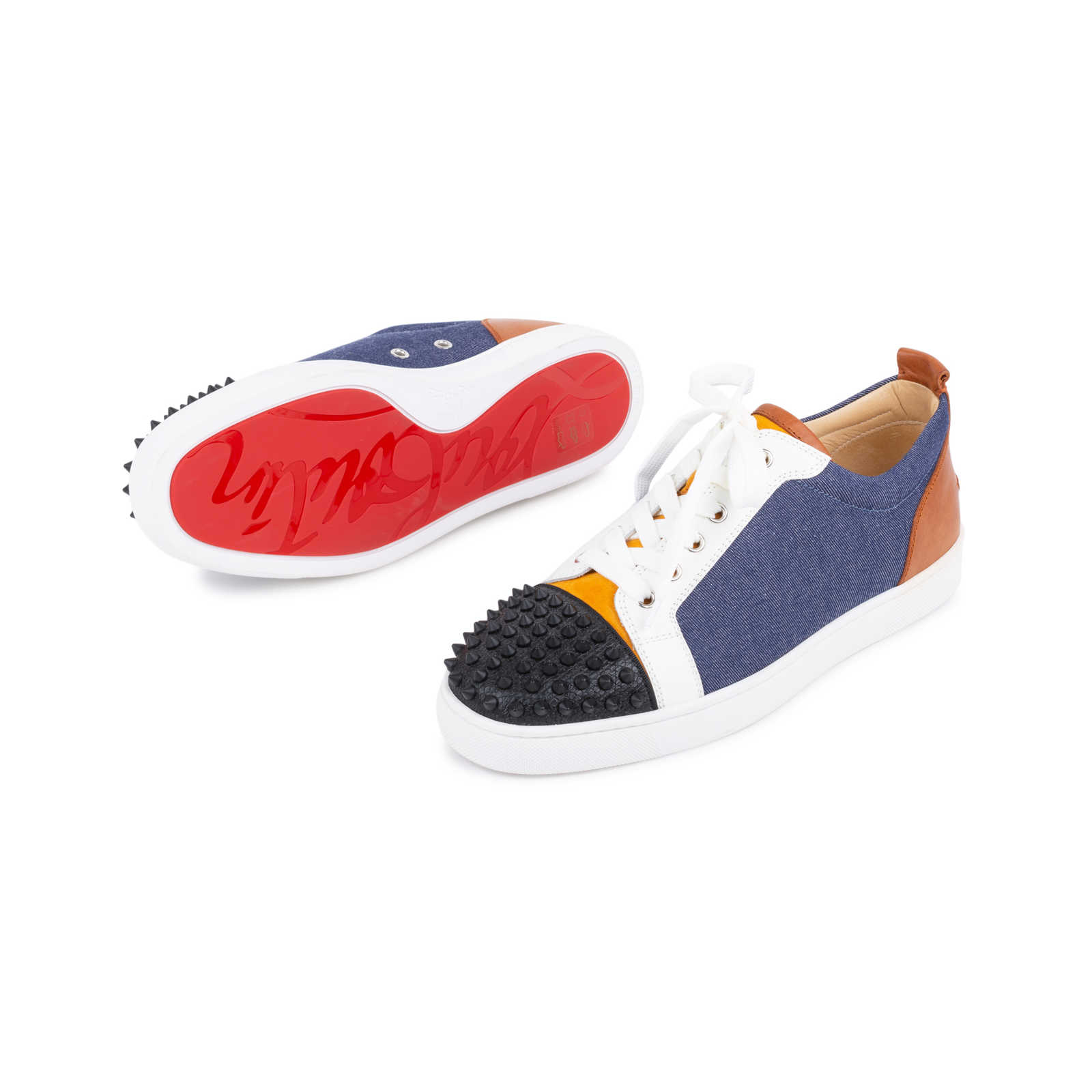 781df283a19 ... Authentic Second Hand Christian Louboutin Louis Junior Spiked Leather  and Denim Sneakers (PSS-601 ...