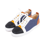Authentic Second Hand Christian Louboutin Louis Junior Spiked Leather and Denim Sneakers (PSS-601-00005) - Thumbnail 3