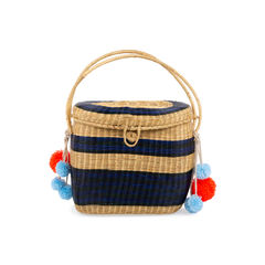 Cinto Striped Wicker Basket Bag