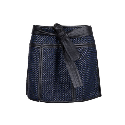Authentic Second Hand Proenza Schouler Basket Weave Leather Mini Skirt (PSS-599-00003)