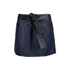 Basket Weave Leather Mini Skirt