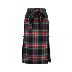 Plaid Wool Wrap Skirt