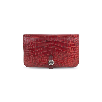 Authentic Second Hand Hermès Rouge H Alligator Dogon Wallet (PSS-097-00125)