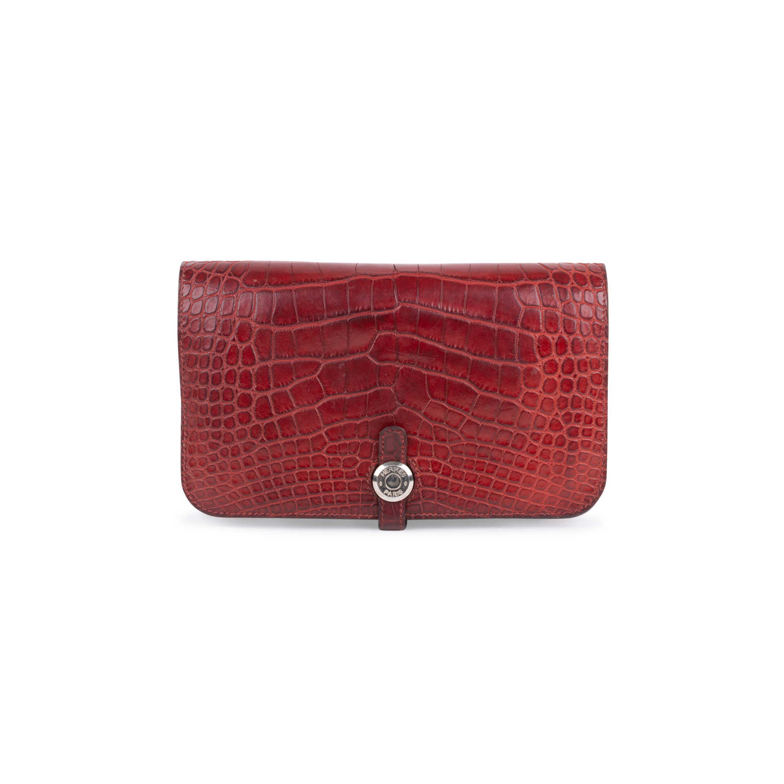 760b1de52f79 Authentic Second Hand Hermès Rouge H Alligator Dogon Wallet (PSS-097-00125)  ...