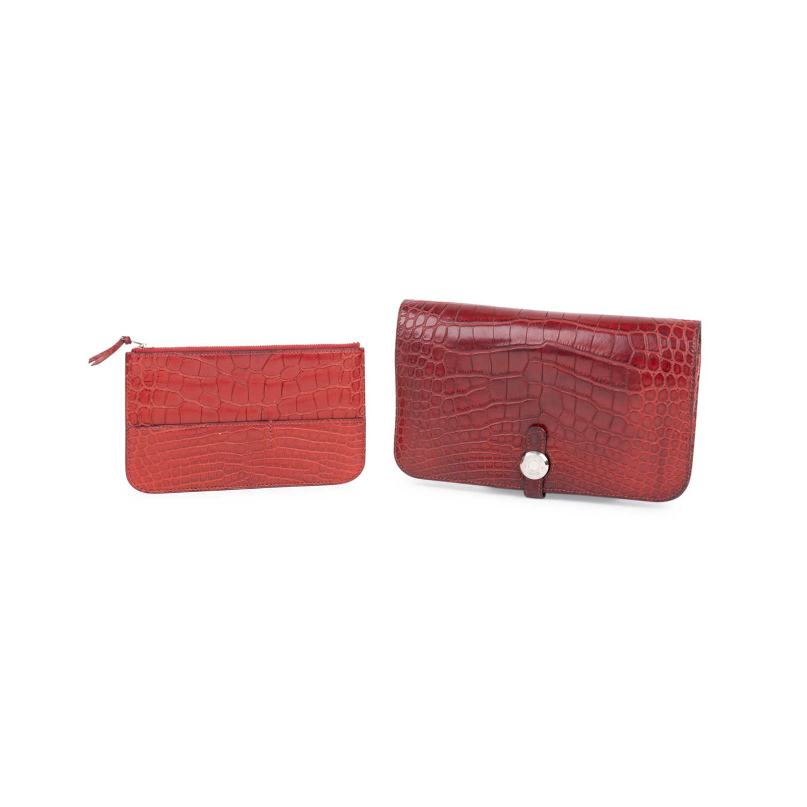 064be1eae46b ... Authentic Second Hand Hermès Rouge H Alligator Dogon Wallet  (PSS-097-00125) ...